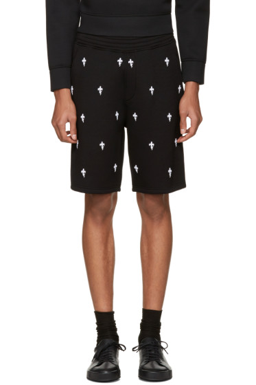 Neil Barrett - Black Fleur de Thunder Shorts