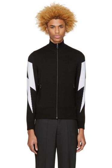 Neil Barrett - Black Thunderbolt Zip-Up Sweater