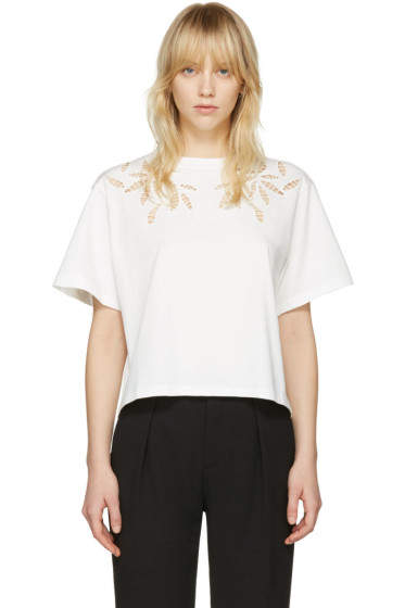 See by Chloé - Off-White Embellished T-Shirt