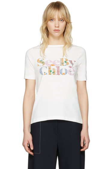 See by Chloé - Off-White Logo T-Shirt