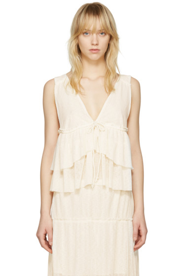 See by Chloé - White V-Neck Tank Top