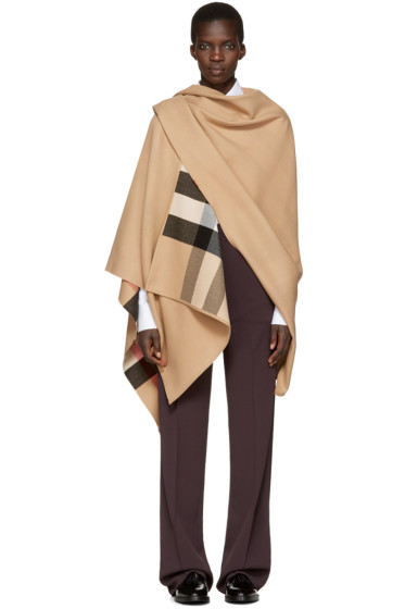 Burberry - Reversible Tan Merino Charlotte Cape