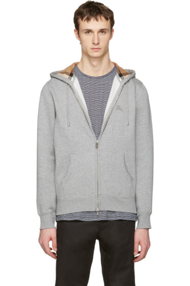 Burberry - Grey Clarendon Zip-Up Hoodie