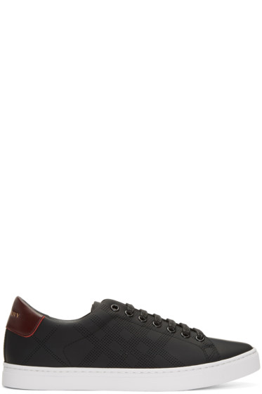 Burberry - Black Perforated Check Albert Sneakers