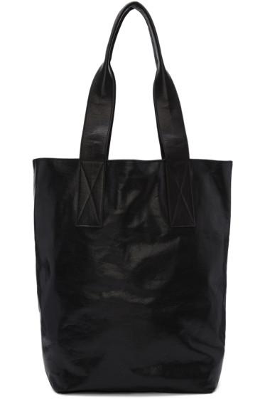 Ann Demeulemeester - Black Leather Wodan Shopping Tote