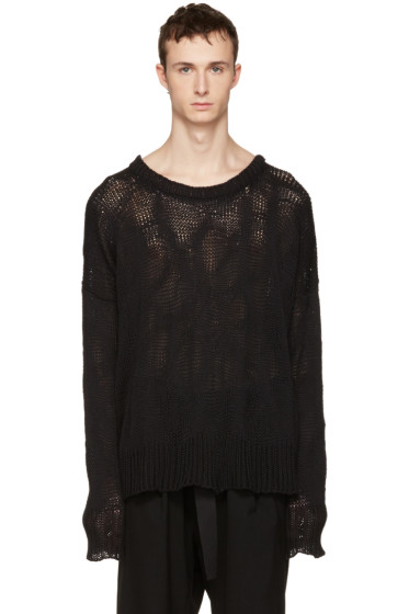 Ann Demeulemeester - Black Heavy Knit Sweater