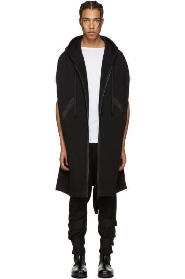 Ann Demeulemeester - Black Hooded Zip-Up Cape