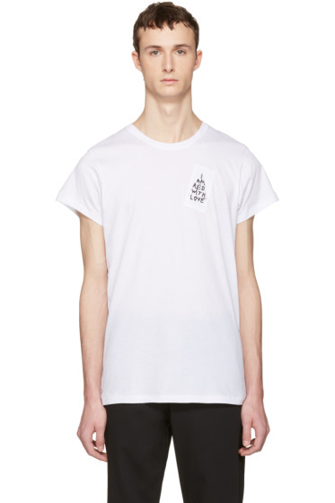 Ann Demeulemeester - White 'I Am Red With Love' T-Shirt