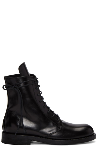 Ann Demeulemeester - Black Leather Lace-Up Boots