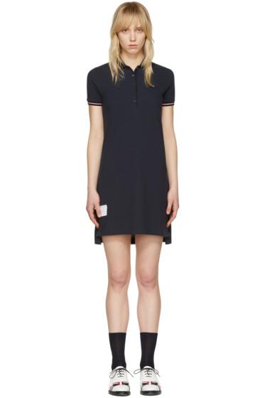 Thom Browne - Navy A-Line Polo Dress
