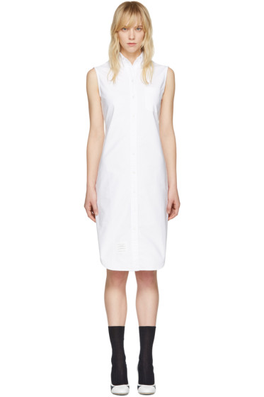 Thom Browne - White Sleeveless Shirt Dress