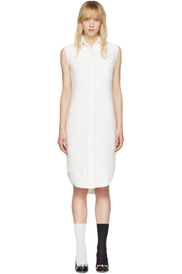 Thom Browne - White Tweed Shirt Dress