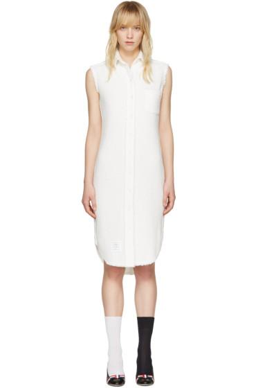 Thom Browne - White Tweed Shirt Dress