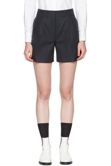 Thom Browne - Navy  Single Pleat Mini Shorts