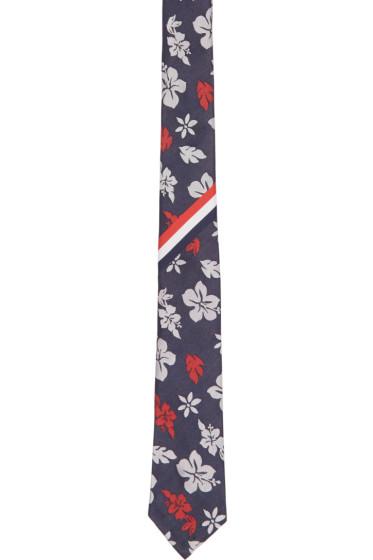 Thom Browne - Navy Hibiscus Stripe Classic Tie