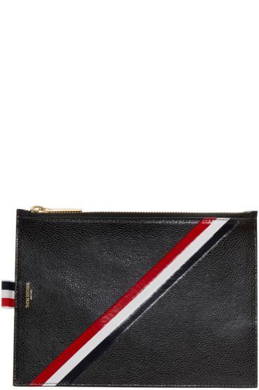Thom Browne - Black Large Diagonal Stripe Coin Pouch