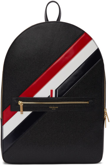 Thom Browne - Black Diagonal Stripe Backpack