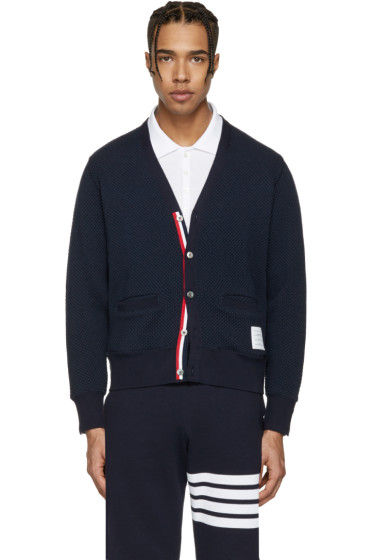 Thom Browne - Navy V-Neck Cardigan