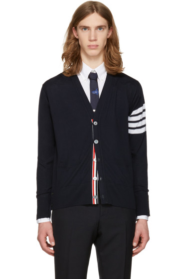Thom Browne - Navy Classic V-Neck Cardigan
