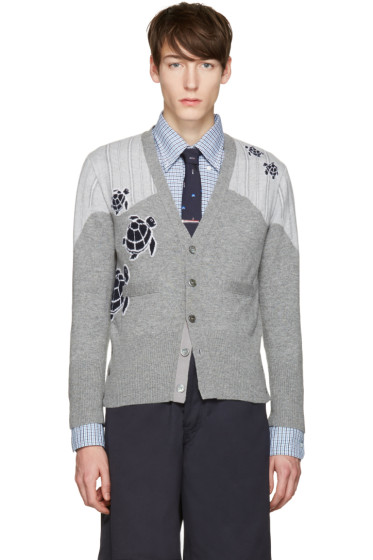 Thom Browne - Grey Sea Animal V-Neck Cardigan