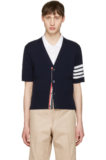 Thom Browne - Navy Classic Short V-Neck Cardigan