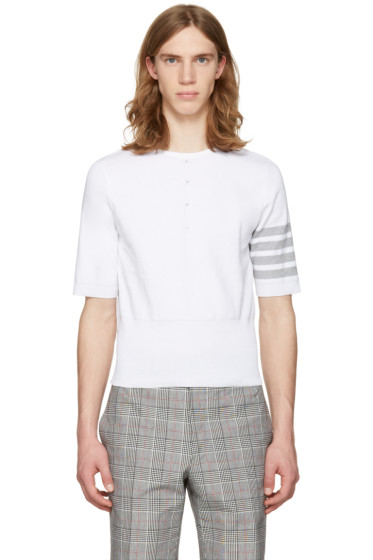 Thom Browne - White Trompe l'Oeil Four Bar T-Shirt