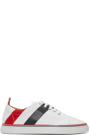 Thom Browne - White Stripe Straight Toe Cap Sneakers
