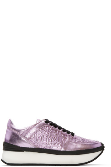 Kenzo - Pink Metallic Platform Sneakers