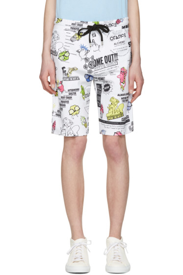 Kenzo - White Cartoon Flyer Lounge Shorts