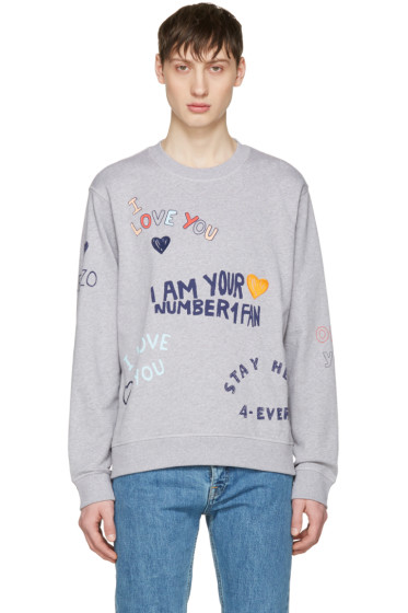 Kenzo - Grey Valentines Text Pullover