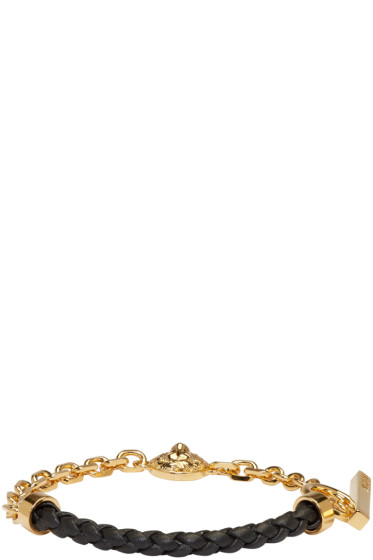 Versus - Gold & Black Half Braided Lion Bracelet