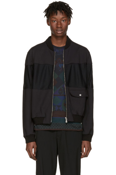Versus - Black Mesh Center Bomber Jacket