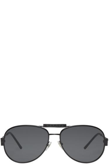 Versace - Black Flat Aviator Sunglasses