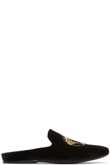 Versace - Black Velvet Medusa Slip-On Loafers