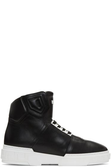 Versace - Black Leather High-Top Sneakers