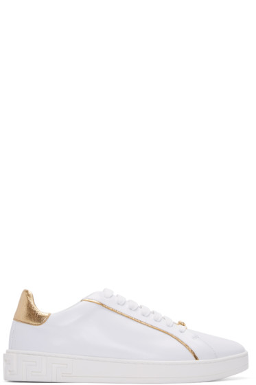 Versace - White & Gold Leather Sneakers