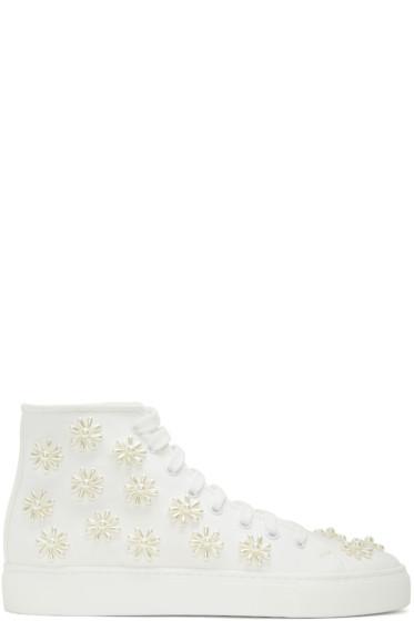 Simone Rocha - White Beaded Classic Canvas High-Top Sneakers