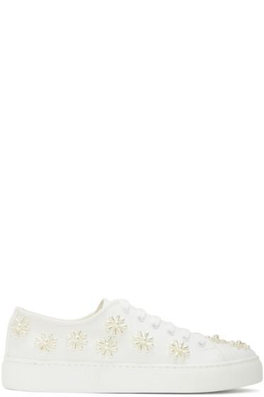Simone Rocha - White Beaded Classic Canvas Sneakers