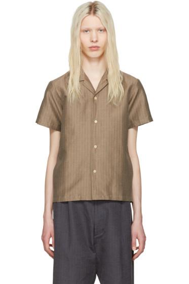 Sasquatchfabrix - Beige Striped Open Collar Shirt