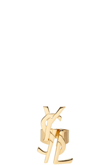 Saint Laurent - Gold Monogram Deconstructed Ring