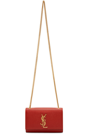 Saint Laurent - Red Small Deconstructed Monogram Kate Chain Wallet Bag