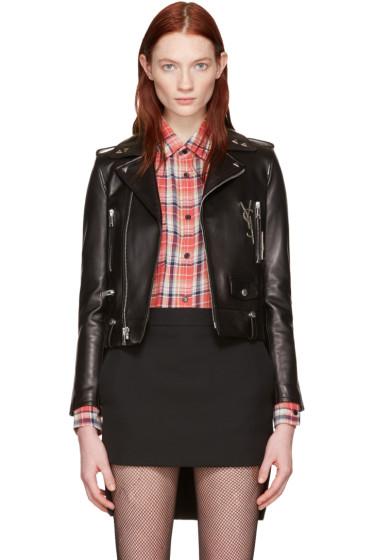Saint Laurent - Black Leather Cassandre Motorcycle Jacket