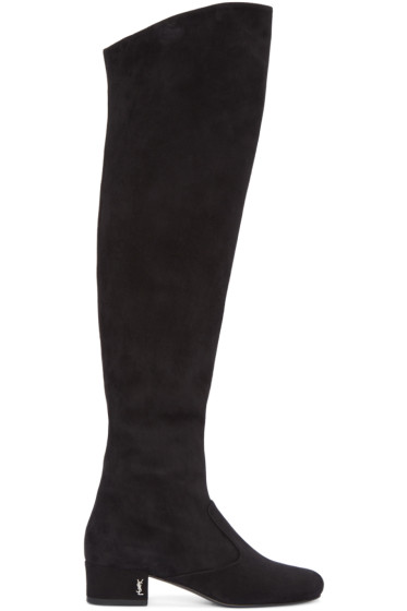 Saint Laurent - Black Suede Tall Boots