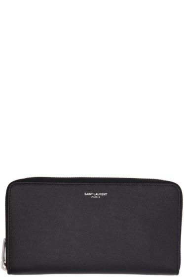 Saint Laurent - Black Zip Around Wallet