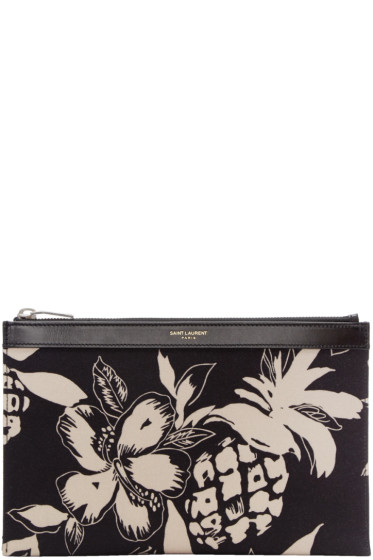 Saint Laurent - Black Mini Hibiscus Pouch