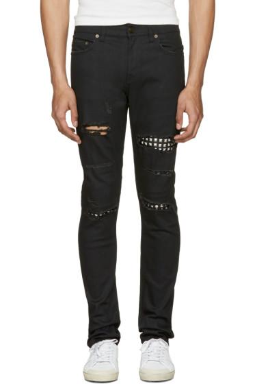 Saint Laurent - Black Studded Low Waisted Skinny Jeans