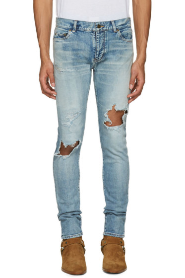 Saint Laurent - Blue Low Waisted Skinny Jeans