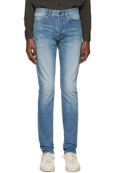 Saint Laurent - Blue Low-Waisted Skinny Jeans