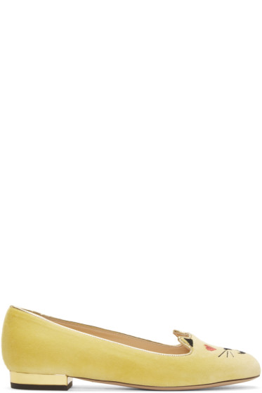 Charlotte Olympia - Yellow Velvet Flirty Kitty Flats
