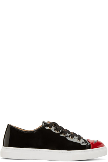 Charlotte Olympia - Black Patent Kiss Me Sneakers